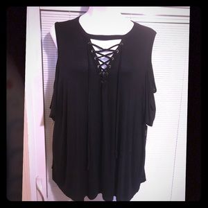 Charlotte Russe 3x black cold shoulder top